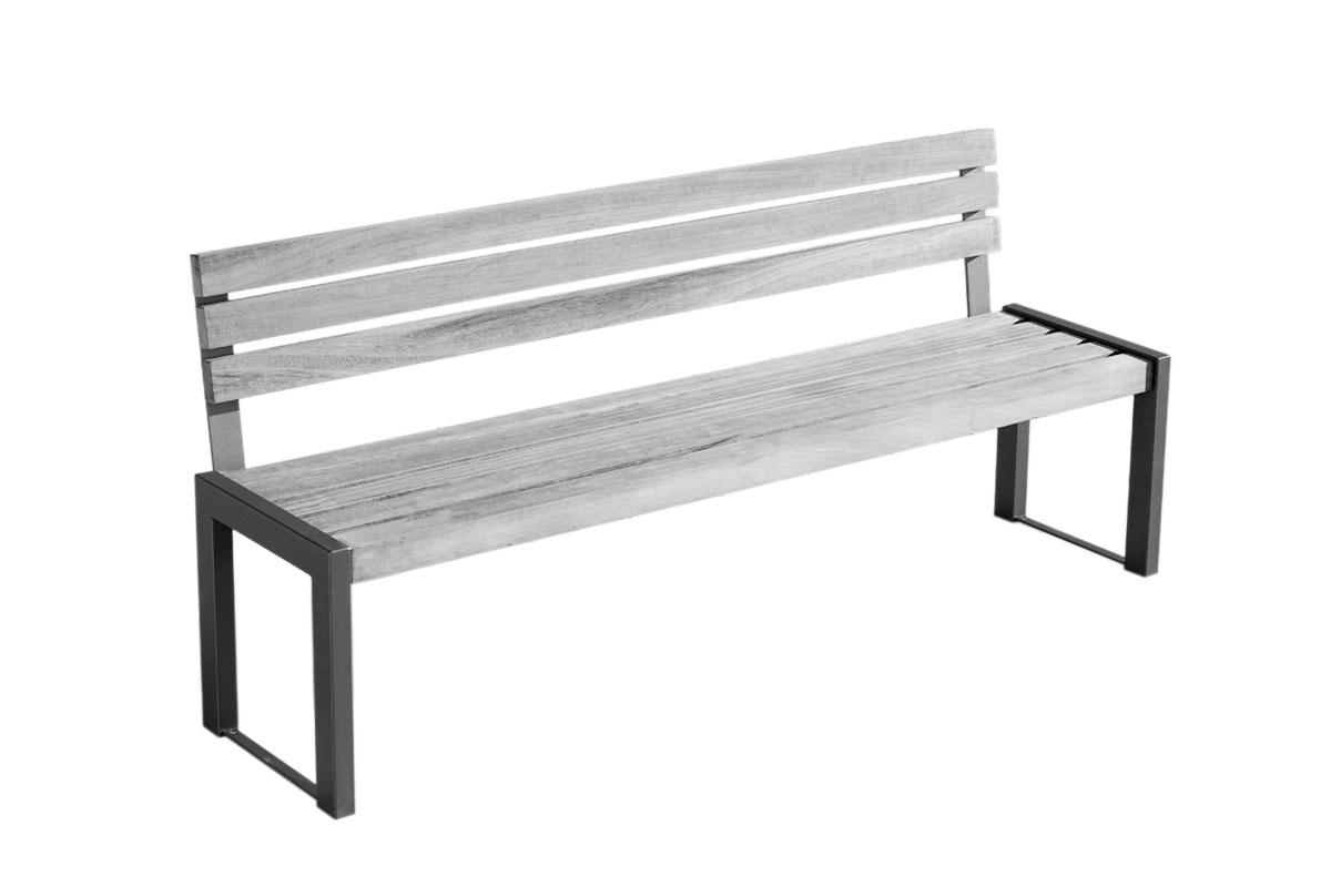 Robuste Parkbank 143-2 aus Stahl mit Rückenlehne | ABES Public Design