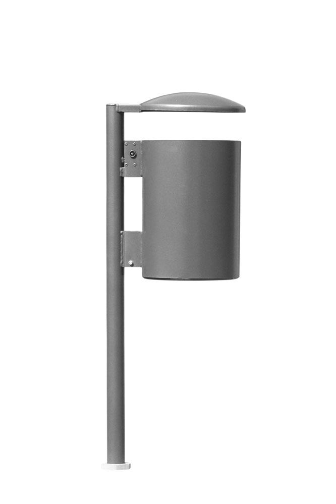zylindrischer Abfallbehälter à 40l an Poller befestigt