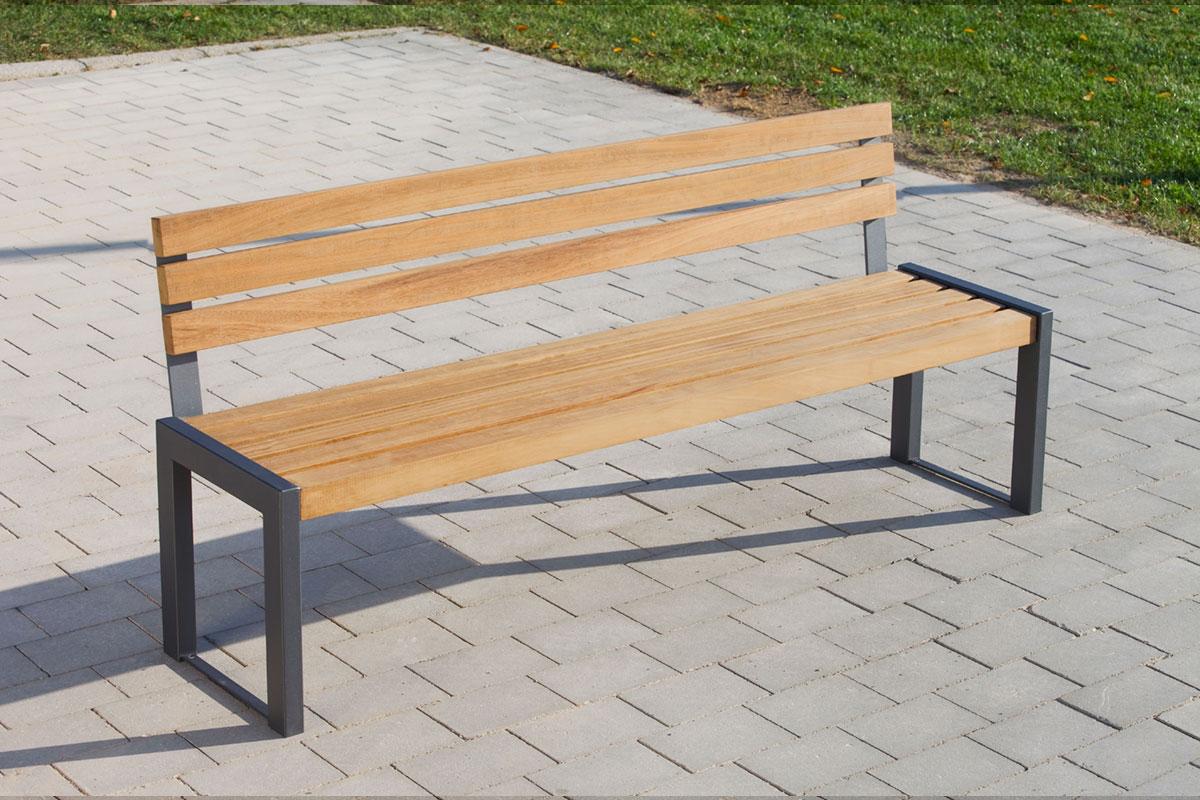 robuste parkbank 143 2 aus stahl mit r ckenlehne abes public design. Black Bedroom Furniture Sets. Home Design Ideas