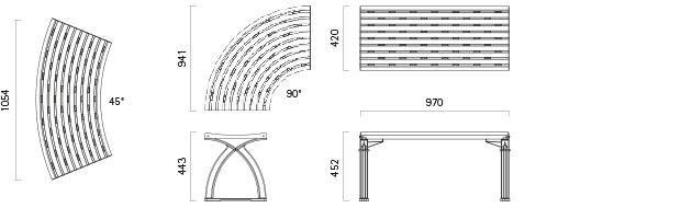 Parkbank 104 - Technische Zeichnung