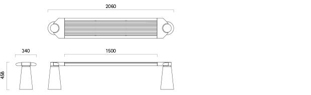Parkbank 121-1 - Technische Zeichnung