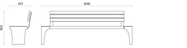 Parkbank 141-2 - Technische Zeichnung