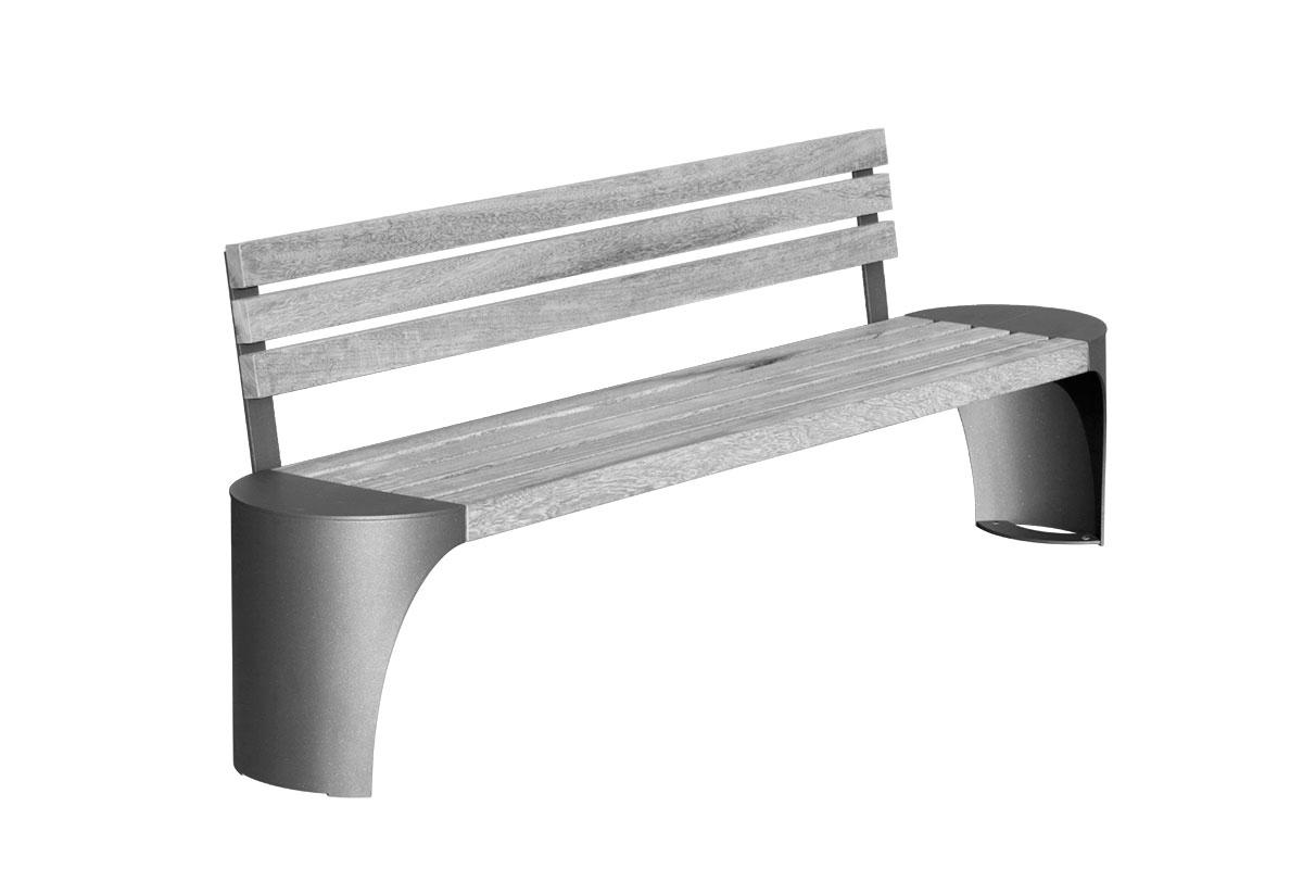 Robuste Parkbank mit Rückelehne aus Stahl und Holzleisten