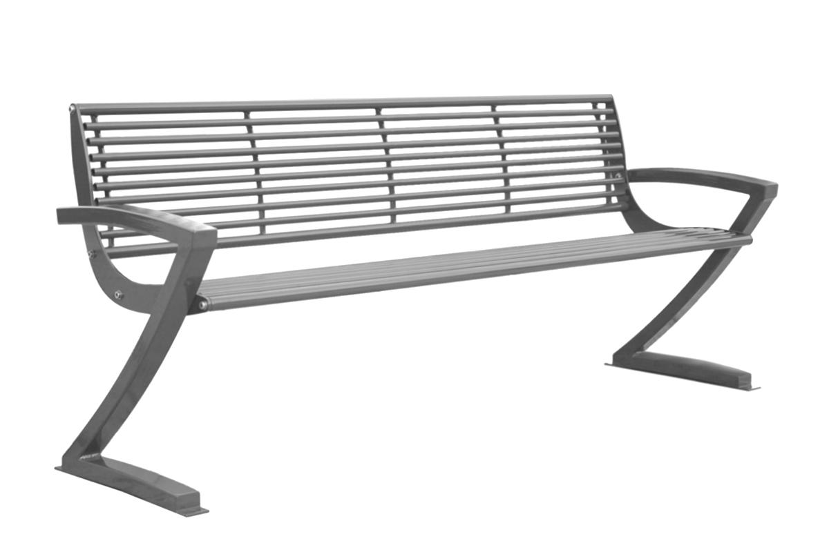 verzinkte stahl parkbank mit r ckenlehne abes. Black Bedroom Furniture Sets. Home Design Ideas