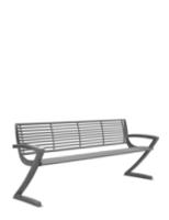 Vierer Parkbank mit Z förmigen Seiten aus Stahl
