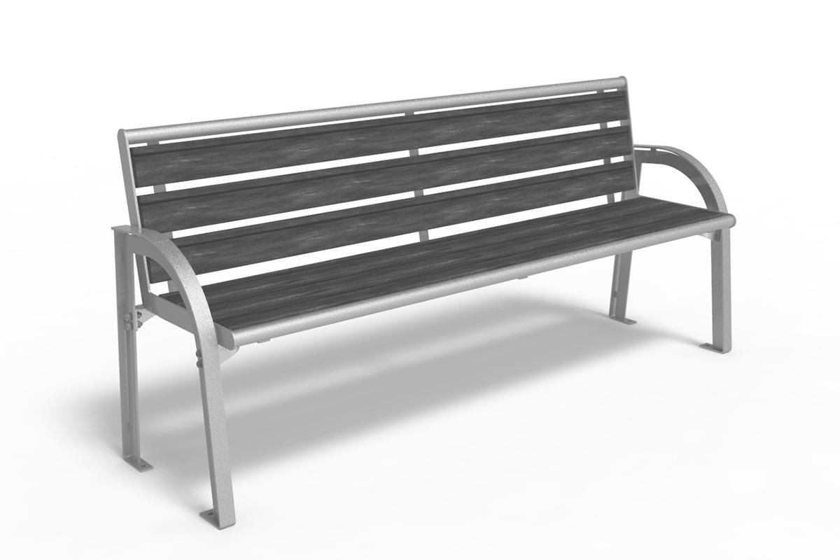 Stadtmöbel Modern Parkbank 1114 1 Mit Rückenlehne Abes Public